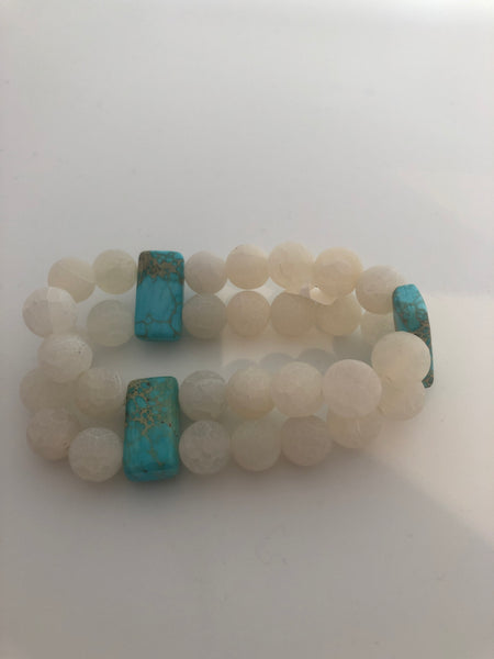 Clear Agate with Turquoise double strand beaded Bracelet