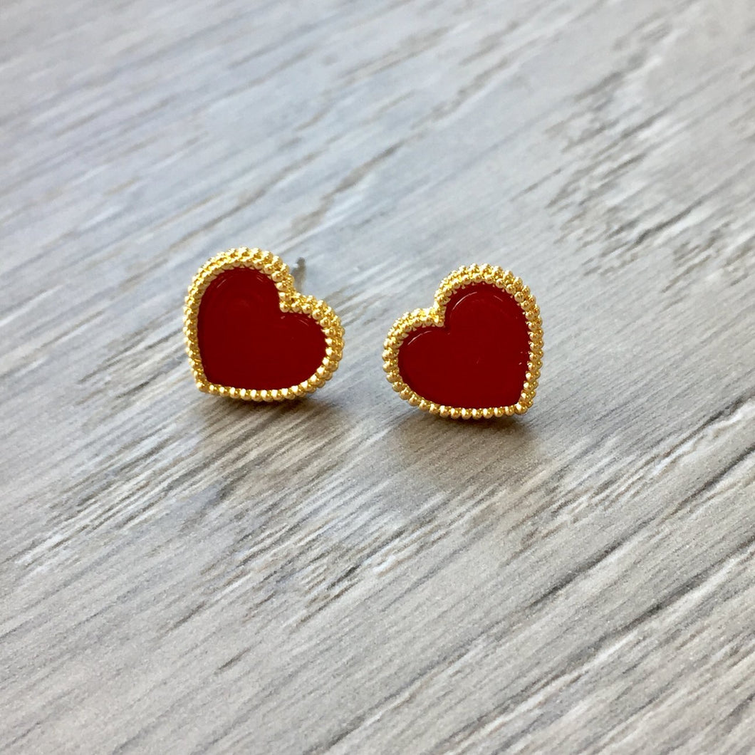 Gold and Red Enameled Heart Stud Earrings