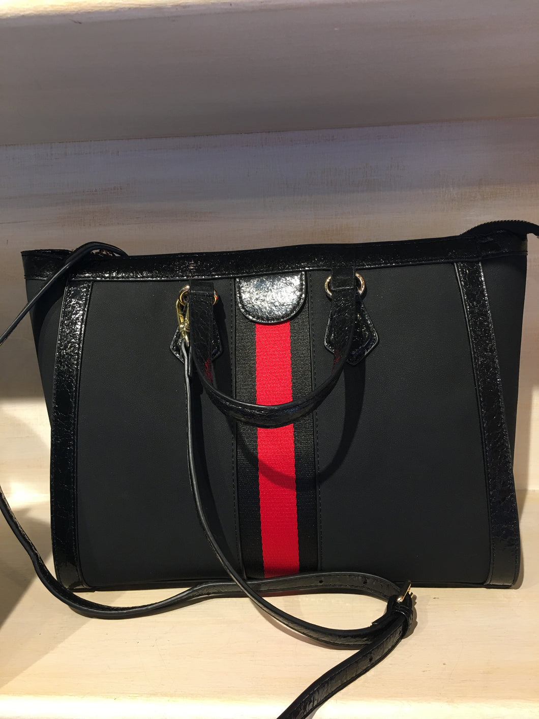 Black Canvas with Red Stripe Handbag