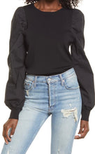 Load image into Gallery viewer, Black Poplin Sleeve Knit Top
