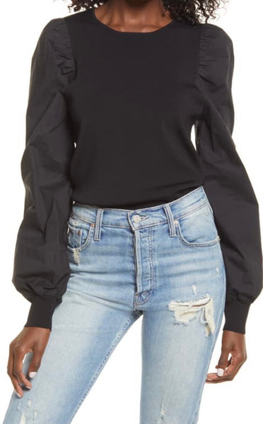 Black Poplin Sleeve Knit Top