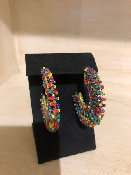 Multi Color Beaded Hoop Earrings with Gold rim