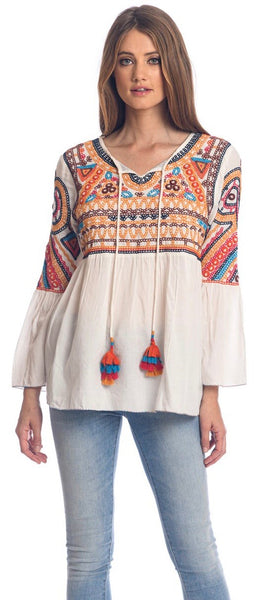 Tolani Tati Ecru Embroidered Top