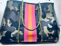 Green Camo Neoprene Tote Bag with Pink Stripe