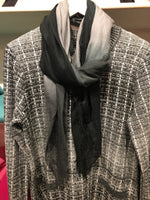 Mid size grey ombré silk and cashmere scarf