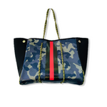 Green Camo with Red/Black Stripe Tote Bag