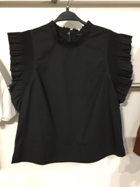 Poplin Sleeve Ruffle Top