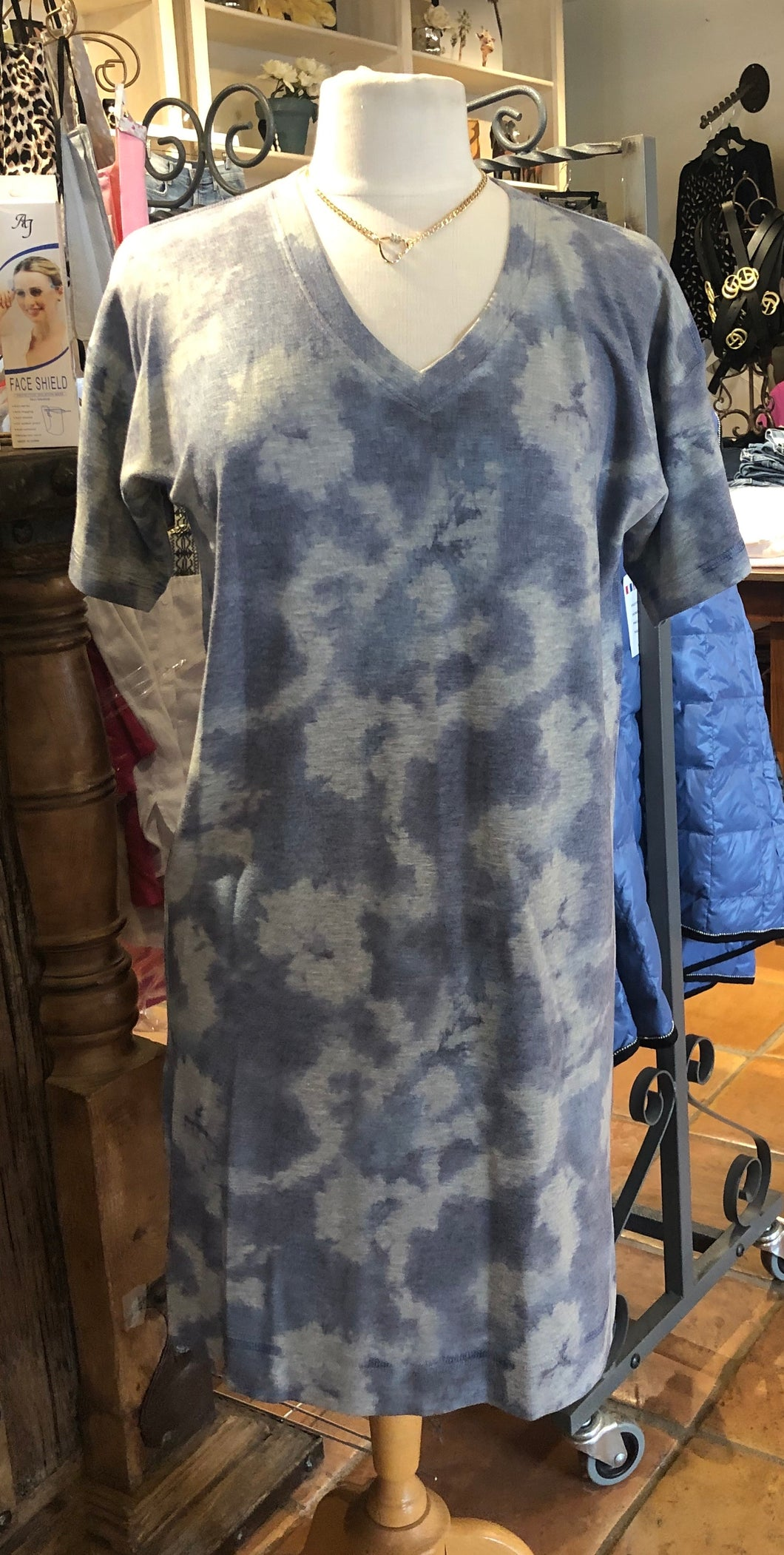 Nally & Millie Blue and Grey Tie dye V neck dress with short Sleeves