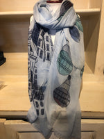 Silk and Cashmere Scarf - Balloons Aqua