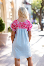 Load image into Gallery viewer, J.Marie Caroline Dress Lt. Blue/Pink Embroidery