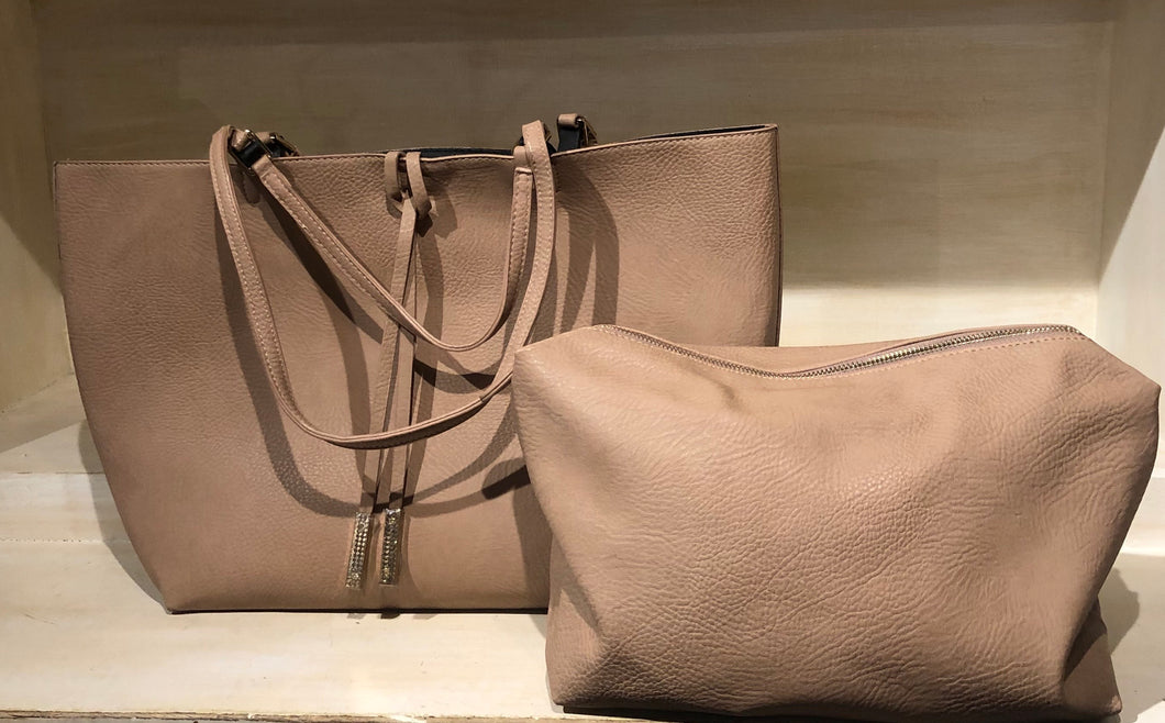 Tan Tote with Pouch