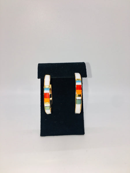 Earrings- White Multi Stripe MOP Hoop Earring