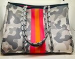 Gray Camo Neoprene Tote Bag with Pink Stripe