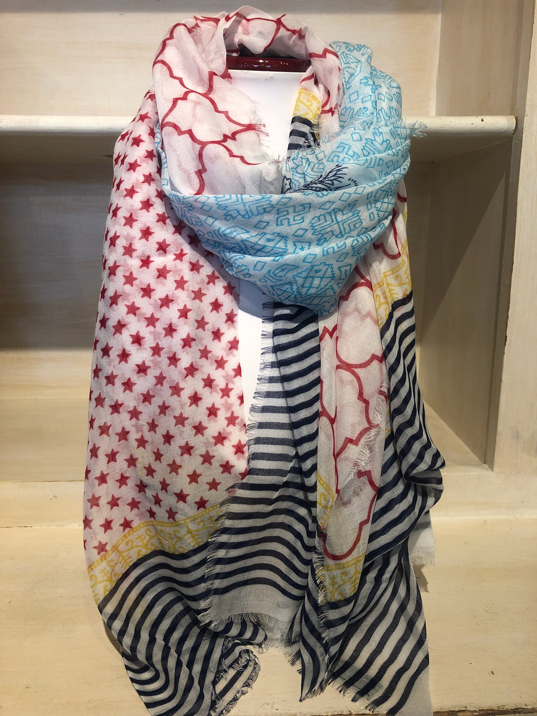 Silk and Cashmere Scarf - Stars & Stripe Navy