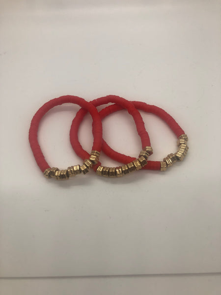 Red Disc Bracelet with Gold Beads
