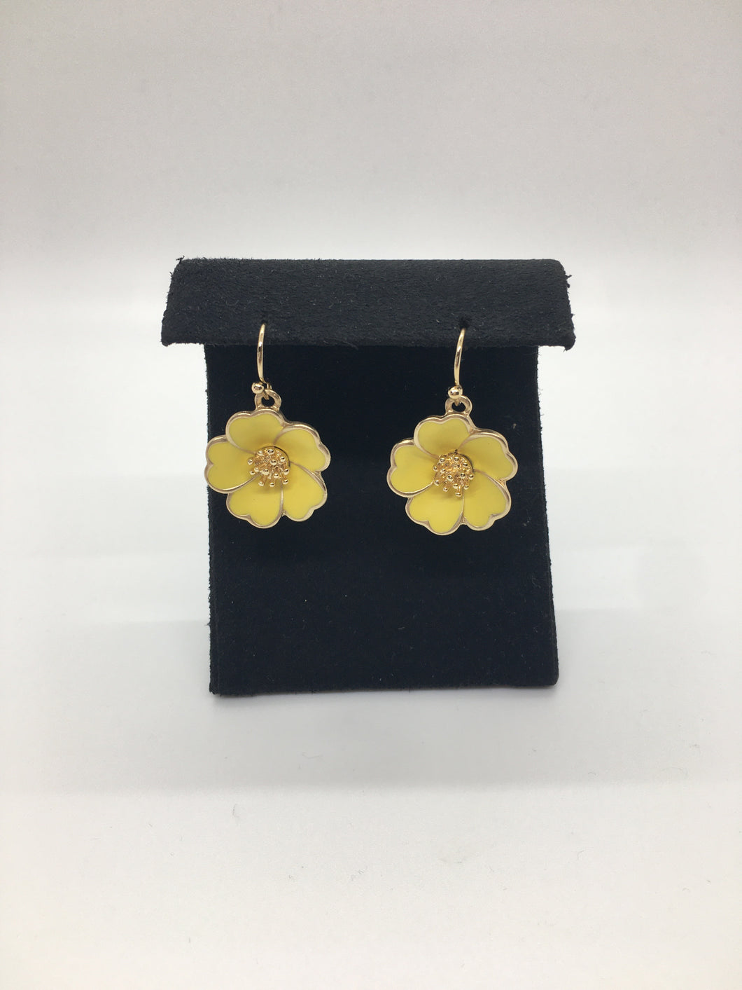 Enamel Flower Dangle Earring with Gold Center and Trim