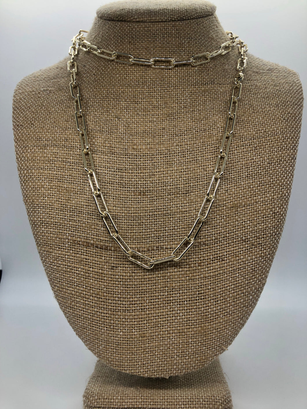 Gold Paper Clip Solid 36 In Necklace
