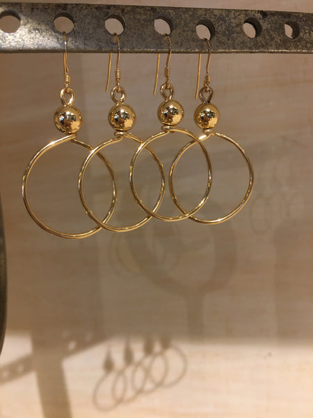 Gold Filled Ball Earrings with Small Hoops
