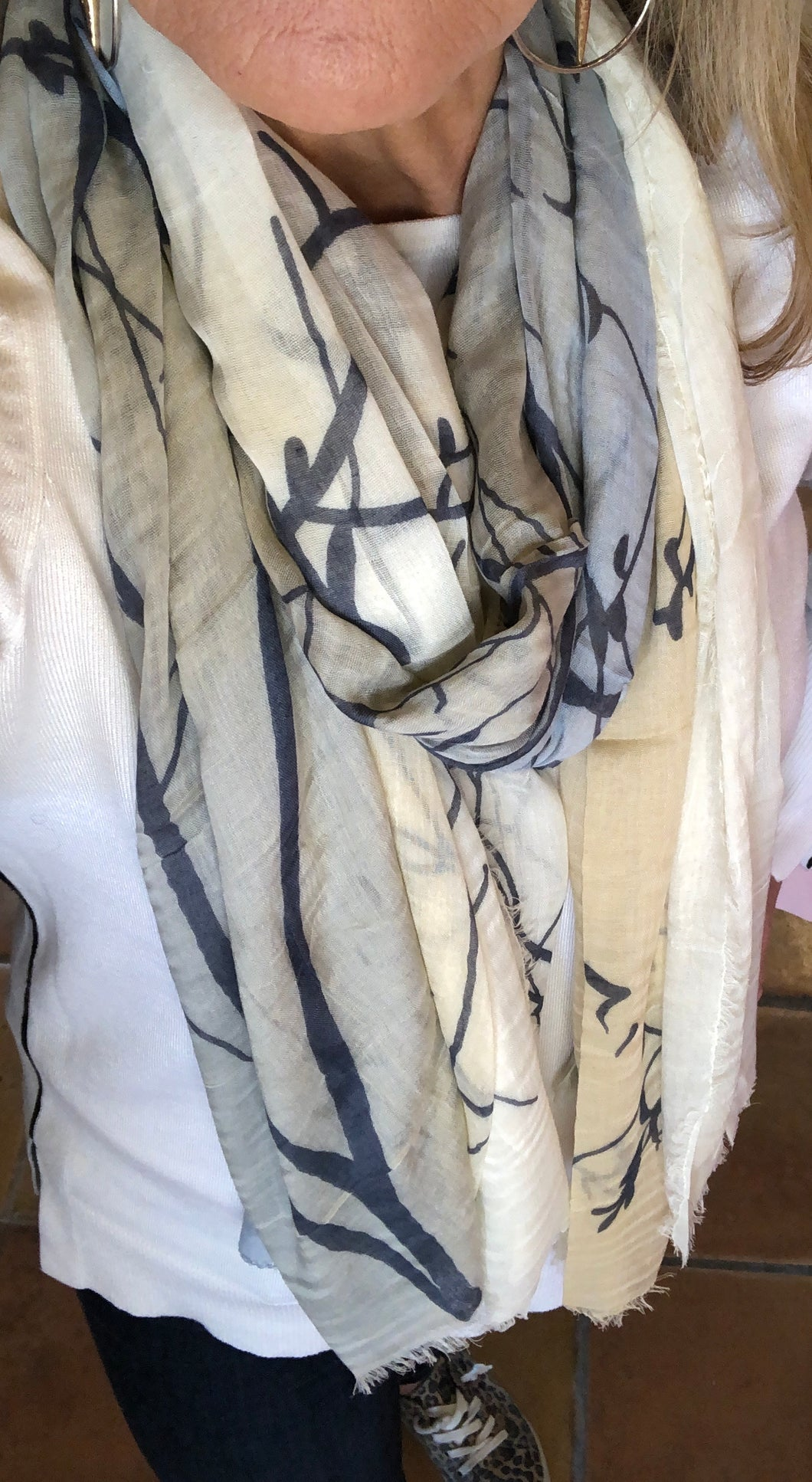 Silk and Cashmere Scarf -  Camel Silver & Blue Tree