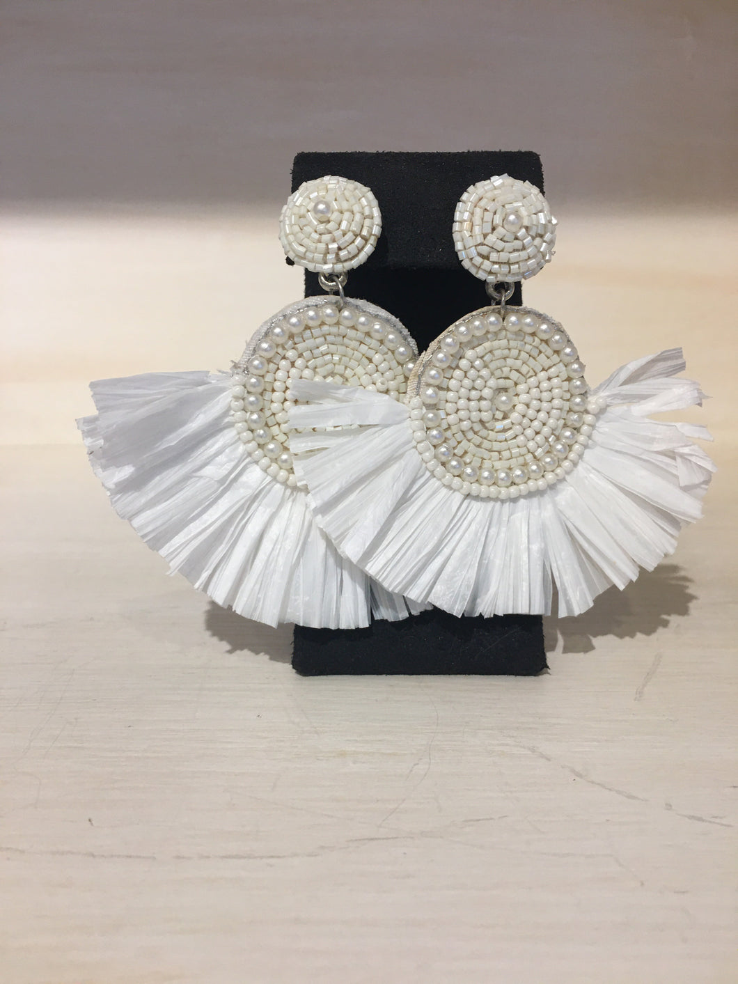White Straw Fan and beaded Earring