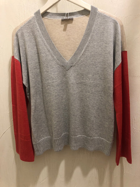 Lilla P V-Neck Color block Sleeve Sweater Heather Grey