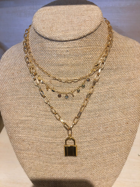3 Strand Gold Necklace with Lock Charm