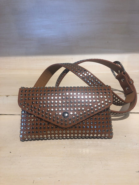 Tan Fanny Pack with Silver studs