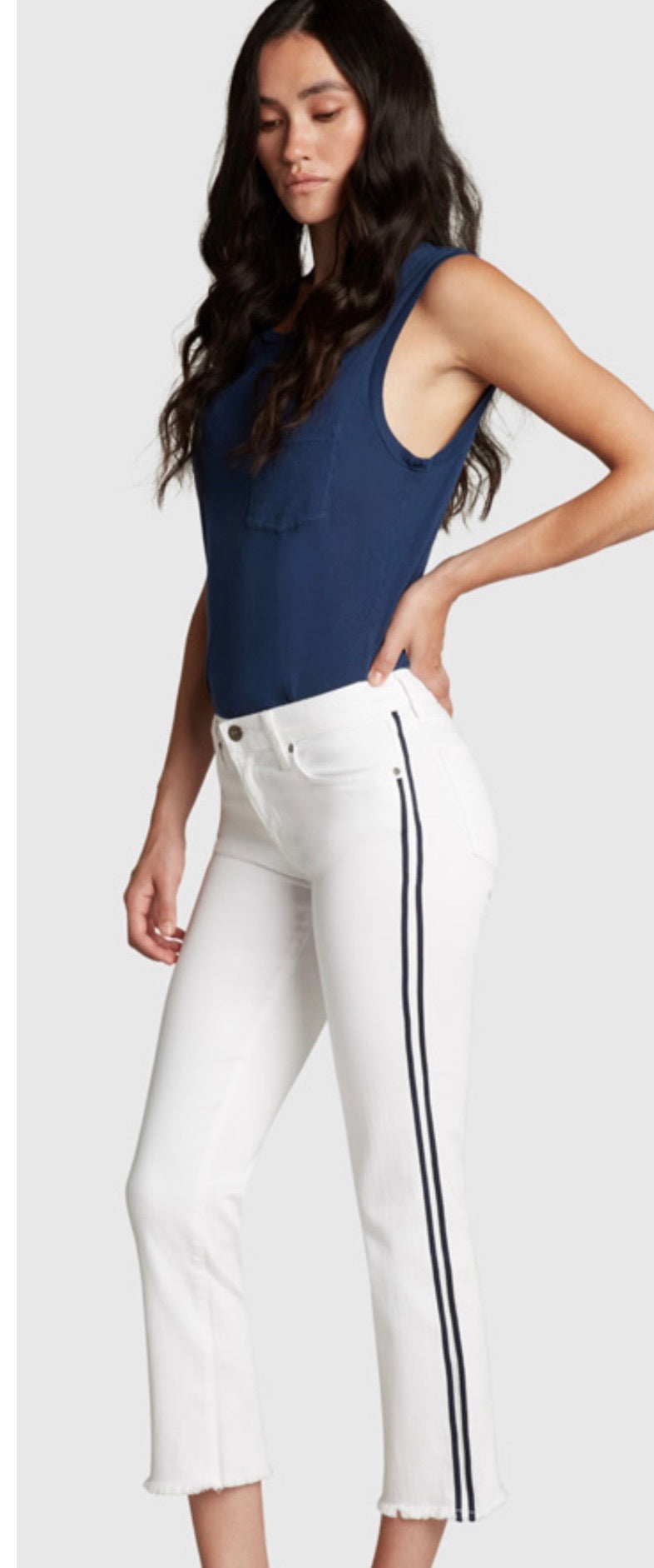 Principle Mid Rise White Cropped Jean - Optimist - In the Lead
