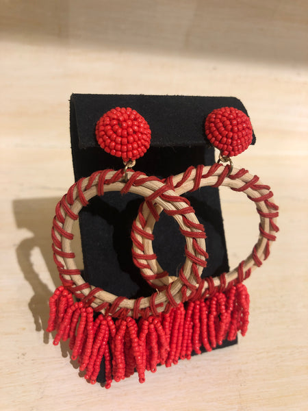 Red and Ivory hoop earrings with hanging beads