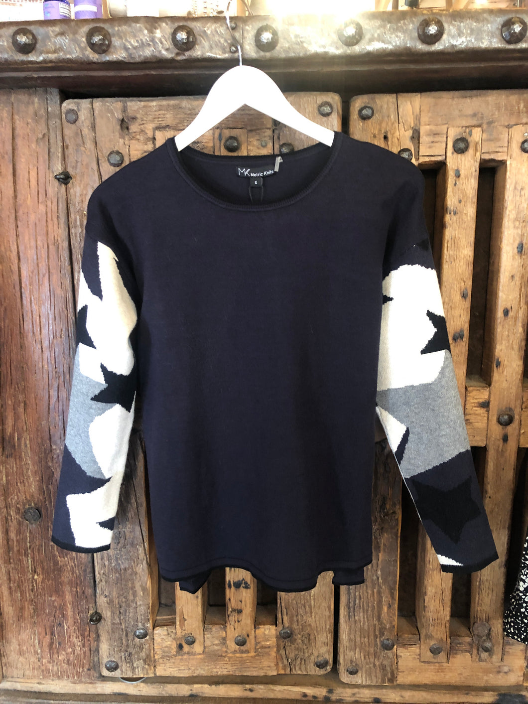 Metric The Navy Star Sleeve Sweater