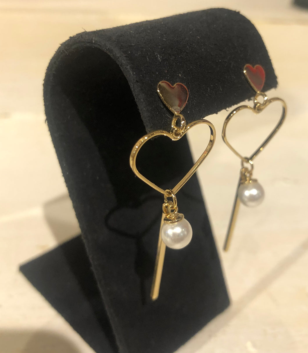 Gold Heart with Pearl Earring
