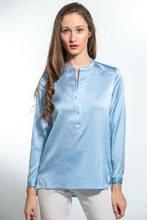 Load image into Gallery viewer, Nouvelle Washable Silk Shirt - Hi/Lo Hem- Montenegro