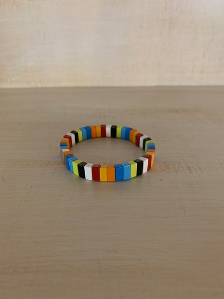 Rainbow, Black and White Enamel Bracelet