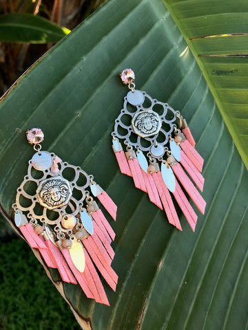 Earrings Indian Pink