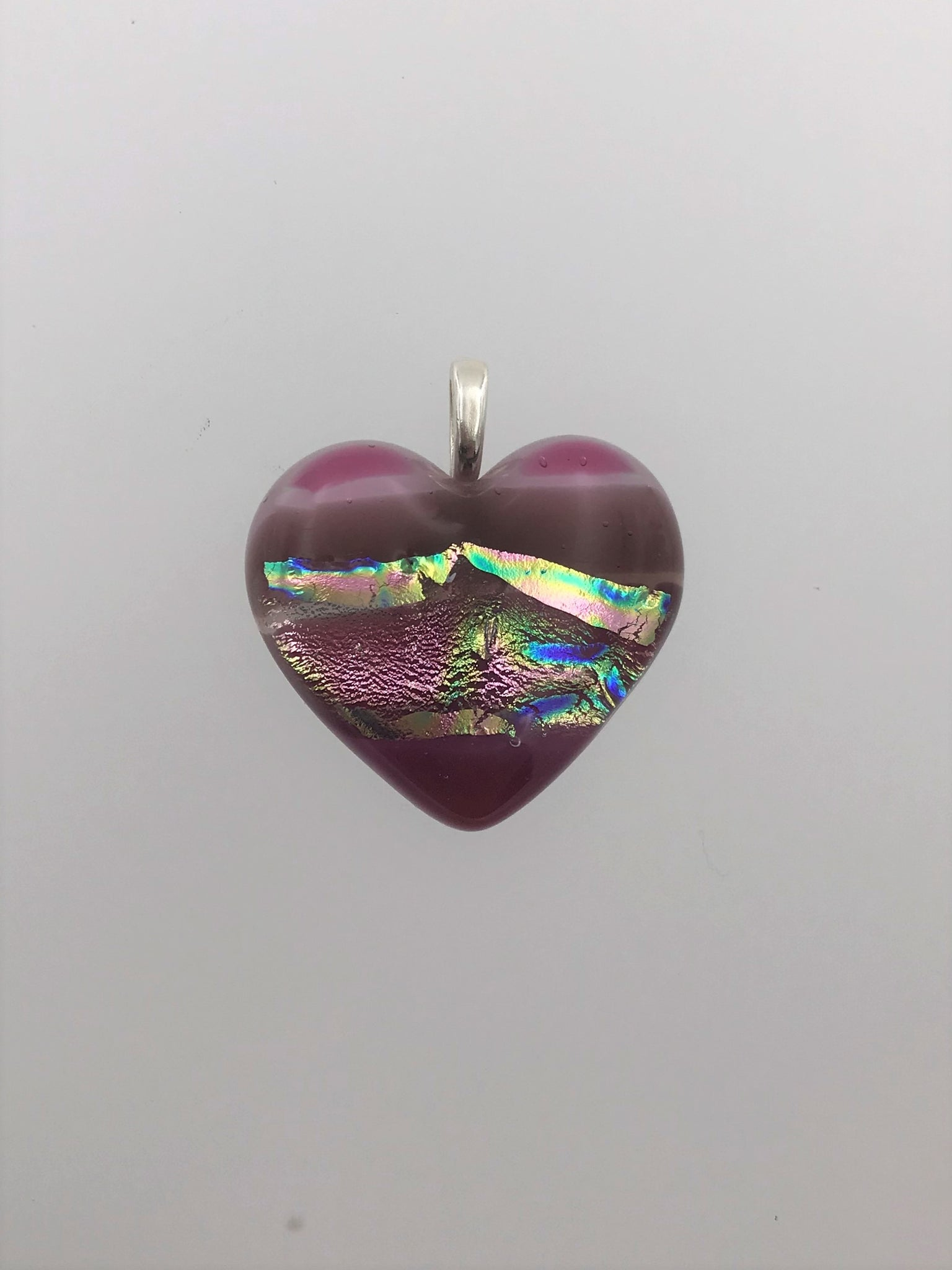 Pink and Mauve Heart Pendant -1010