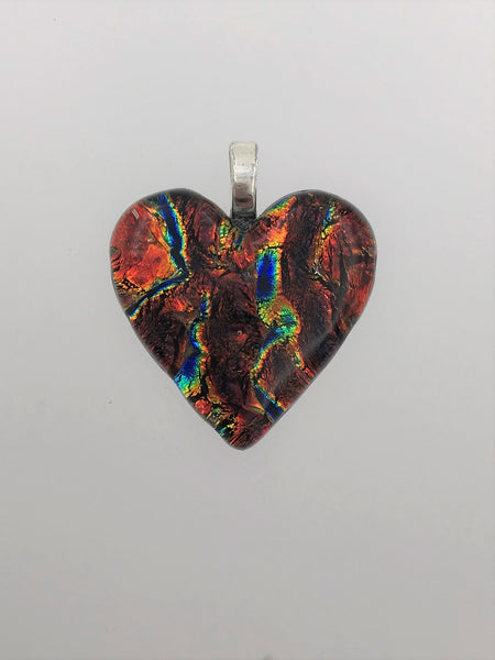 Brown Dichroic Heart Pendant - 1401