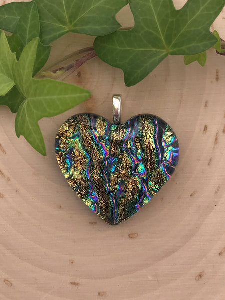 Gold and Green Dichroic Heart Pendant - 1402