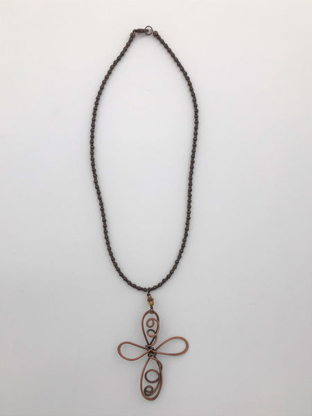 Copper Cross Necklace - 3103