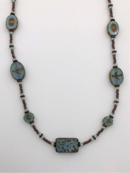 Blue Raven Necklace - 3007