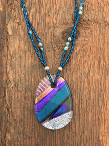 Fused and Beaded Necklace - 3008