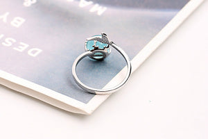 «Opal Ocean» Sterling Silver Blue Crystal Ring