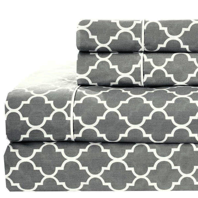 Meridian Percale Sheet Set-Royal Tradition-Twin XL-Gray & White-Egyptian Linens