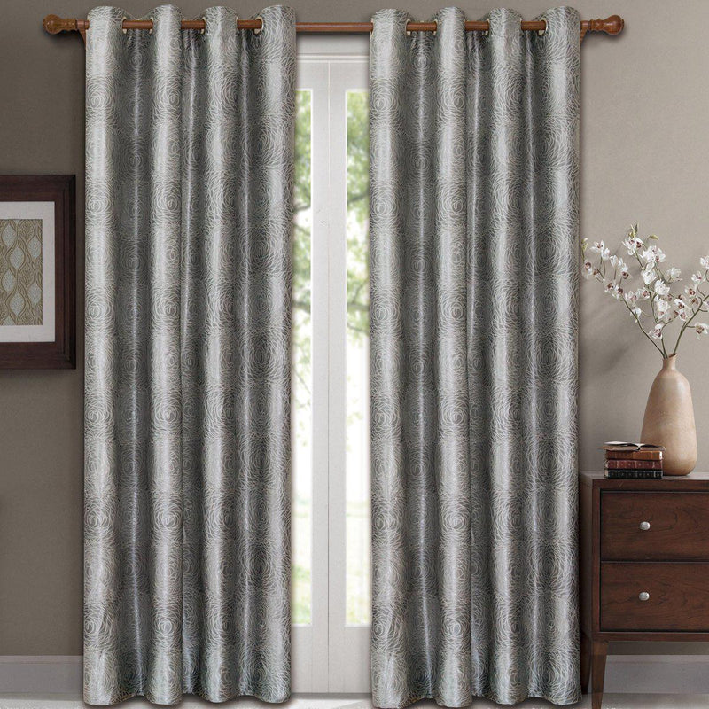 "Lexington Circle Swirl Jacquard Curtains Top Grommet Panels (Set of 2)-Royal Tradition-104 x 84"" Pair-Silver-Egyptian Linens"