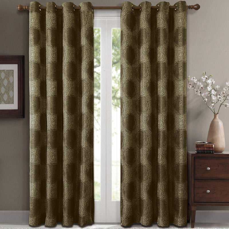 "Lexington Circle Swirl Jacquard Curtains Top Grommet Panels (Set of 2)-Royal Tradition-104 x 63"" Pair-Green-Egyptian Linens"