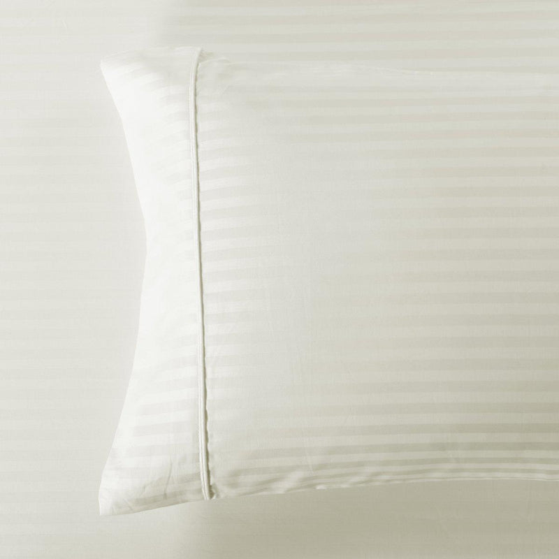 Damask Stripe 600 Thread Count Pillowcases (Pair)-Royal Tradition-Standard Pillowcases Pair-Ivory-Egyptian Linens