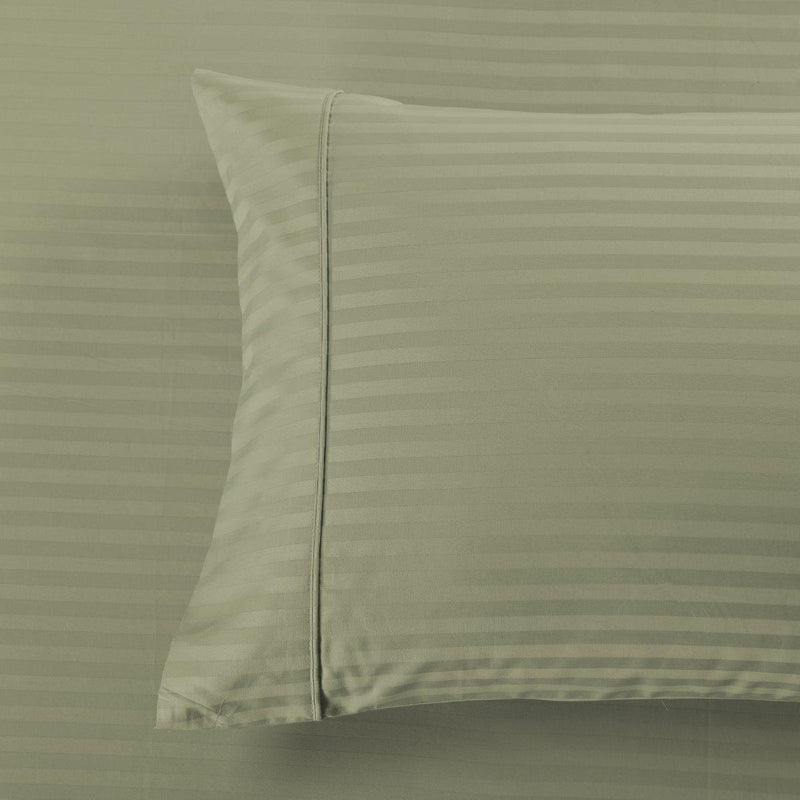 Damask Stripe 600 Thread Count Pillowcases (Pair)-Royal Tradition-Standard Pillowcases Pair-Sage-Egyptian Linens
