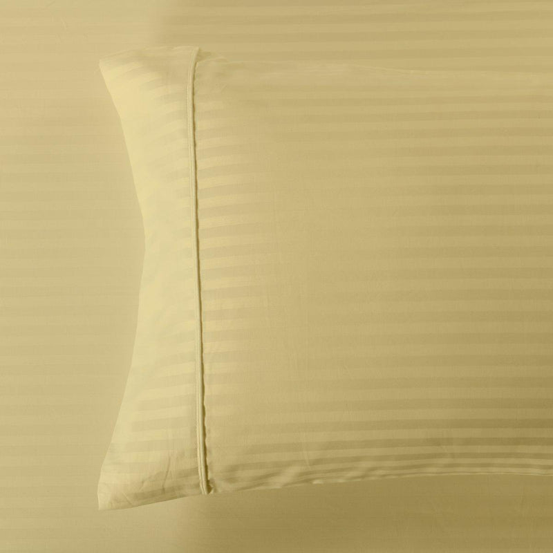Damask Stripe 600 Thread Count Pillowcases (Pair)-Royal Tradition-Standard Pillowcases Pair-Gold-Egyptian Linens