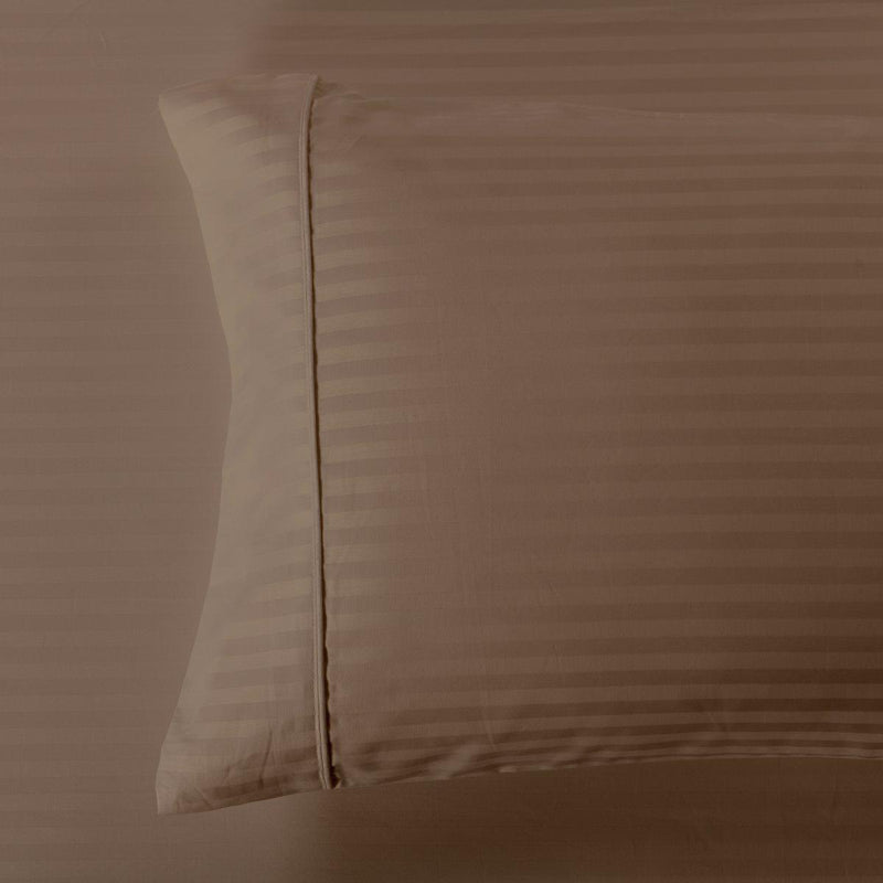 Damask Stripe 600 Thread Count Pillowcases (Pair)-Royal Tradition-Standard Pillowcases Pair-Taupe-Egyptian Linens