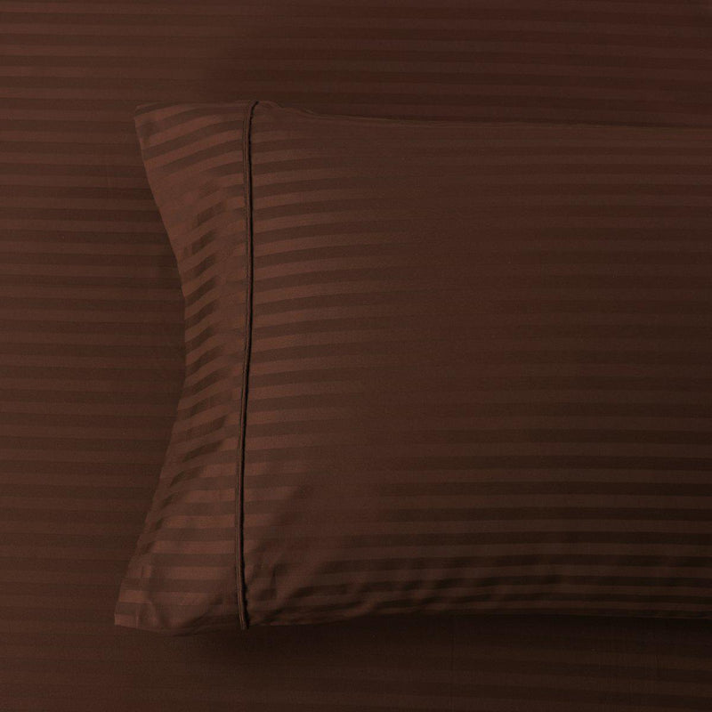 Damask Stripe 600 Thread Count Pillowcases (Pair)-Royal Tradition-Standard Pillowcases Pair-Chocolate-Egyptian Linens