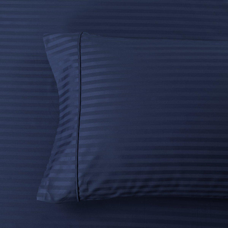 Damask Stripe 600 Thread Count Pillowcases (Pair)-Royal Tradition-Standard Pillowcases Pair-Navy-Egyptian Linens